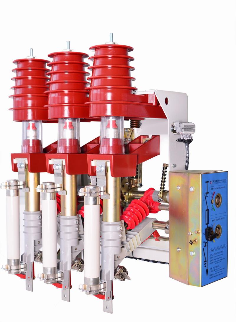 XHFKN12压气式负荷开关介绍 1、集成隔离开关、负荷开关、接地开关、熔断器为一体的综合性高压电器产品; 2、通过钟罩形结构的绝缘件使母排和负荷开关室之间完全隔开; 3、进线端静触头采用透明防护罩隔离保护,不但增加了安全性,而且使分闸断口清晰可见,还可防尘。 4、开关本体上自带特别设计的门锁,与开关柜柜门的联锁安装简单可靠。 5、灵活多样的安装方式,品种齐全的配件,满足任何使用方案。 6、应用广泛,可适用于工厂、学校、住宅小区、高层建筑等配电系统中的环网开关柜、箱式变电站等配电设备中。 主要技术参数